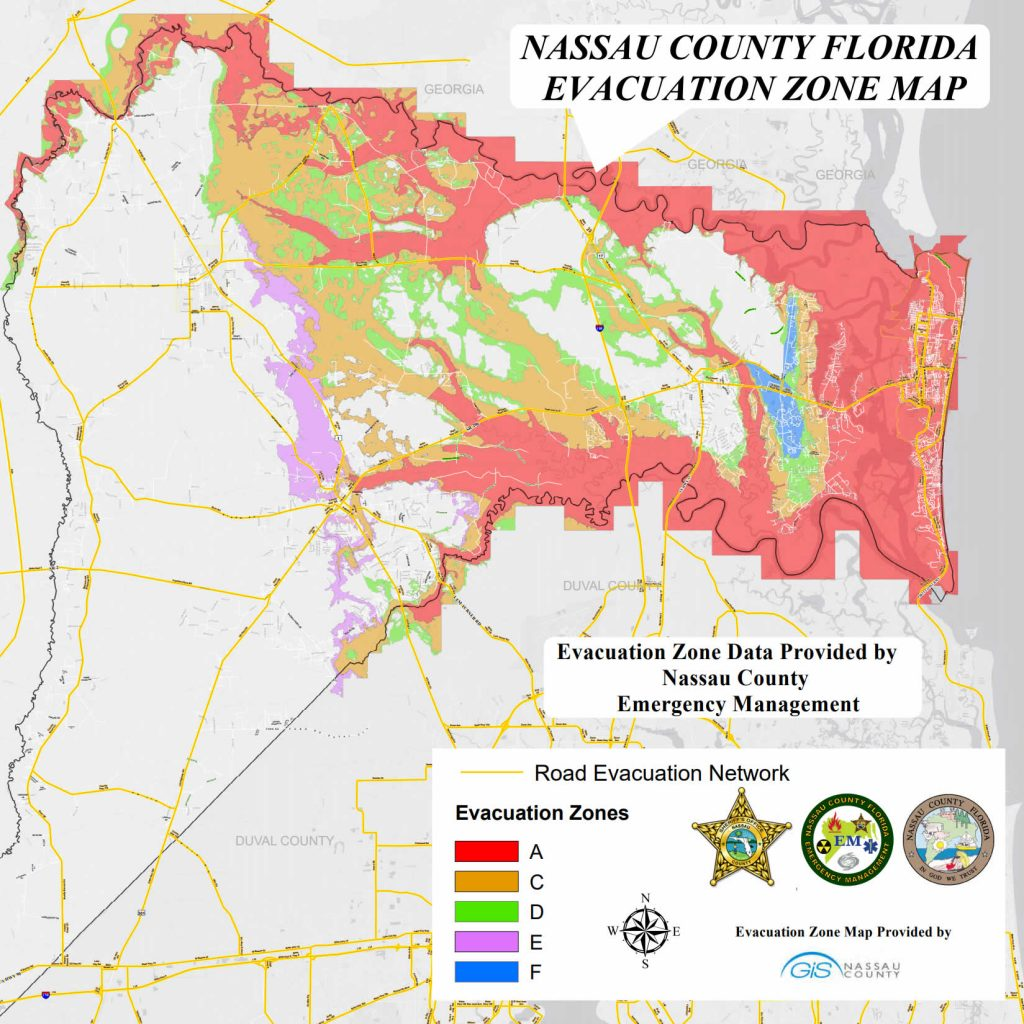 Map Showing Nassau Evacuation Zones