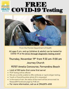 Covid Testing Journey Church 19 Nov