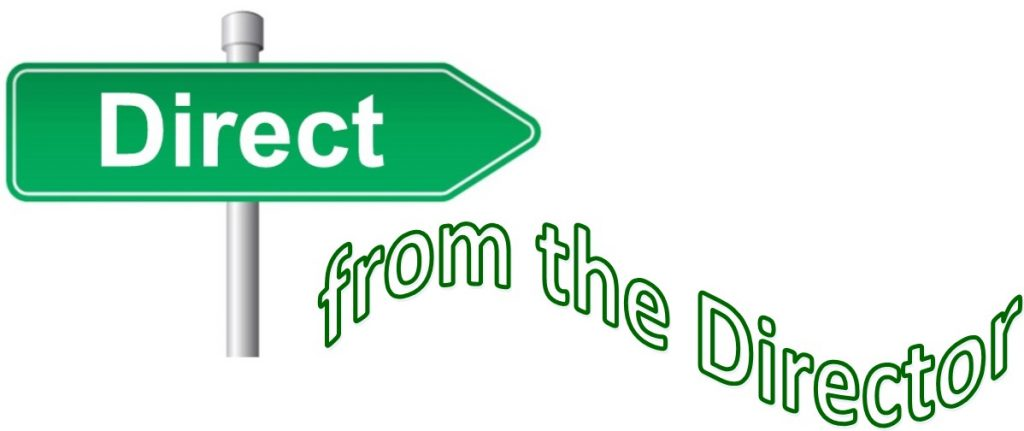 A street sign that says Direct, and subtext that says from the director.