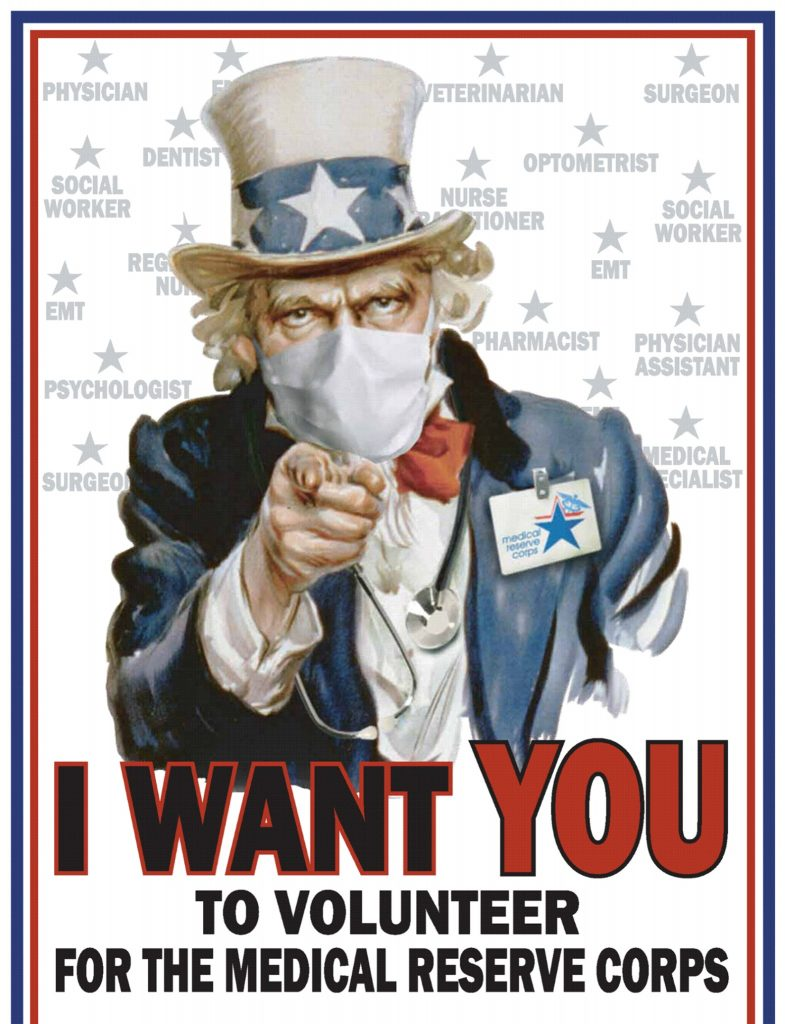 Patriotic medical reserves recruitment poster.