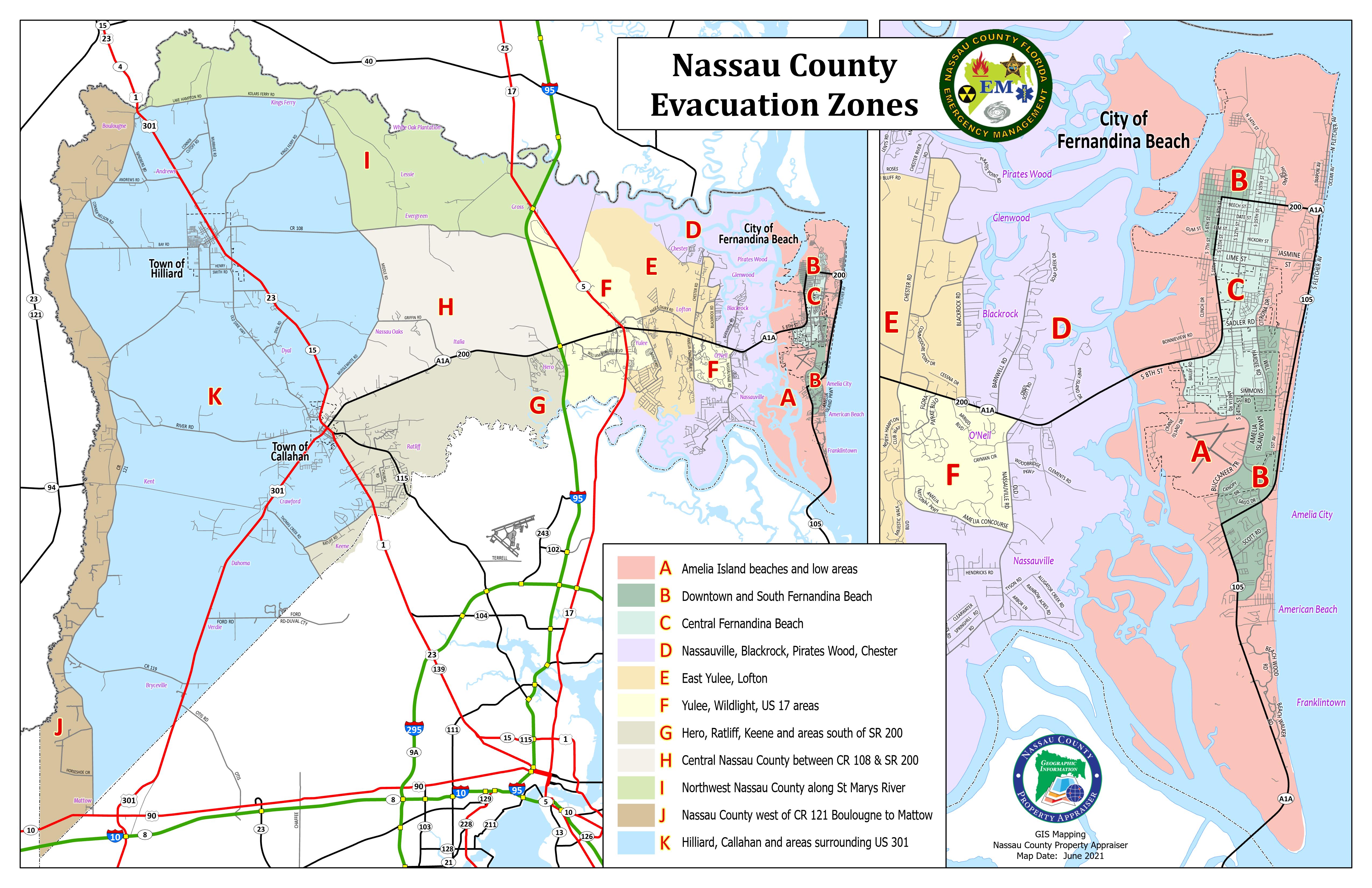 Evacuation Zones 2021